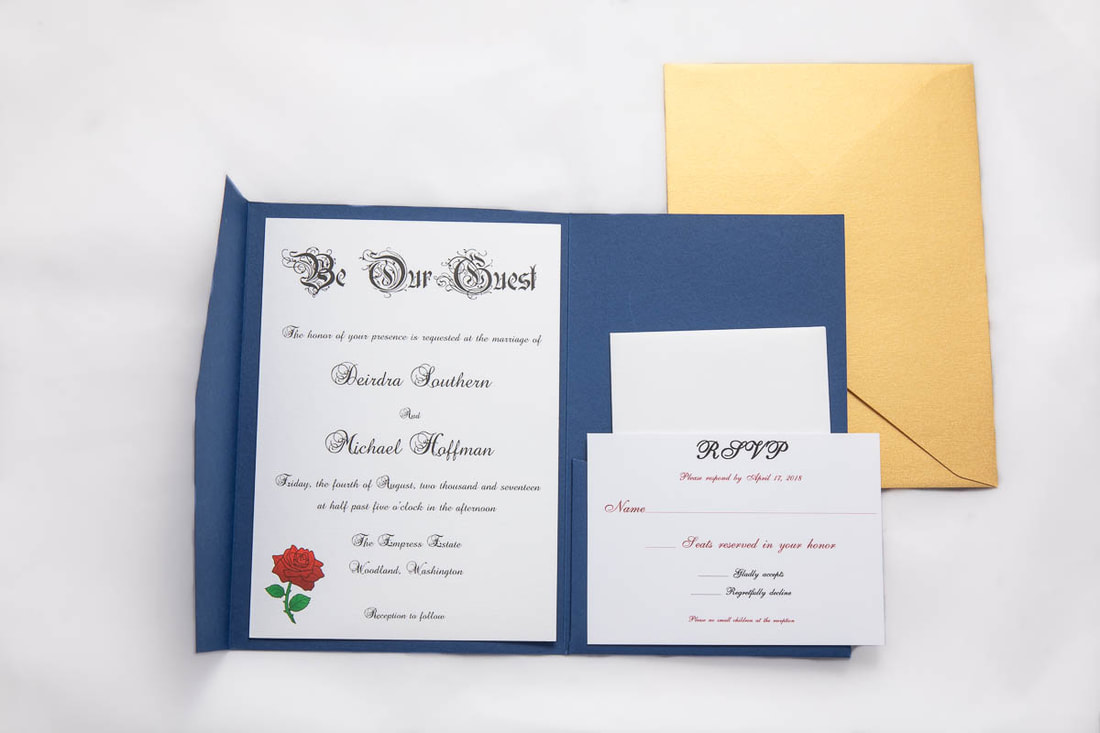 Disney Beauty and the Beast inspired wedding invitation on a blue pocket fold, RSVP card with envelope, gold envelope.
