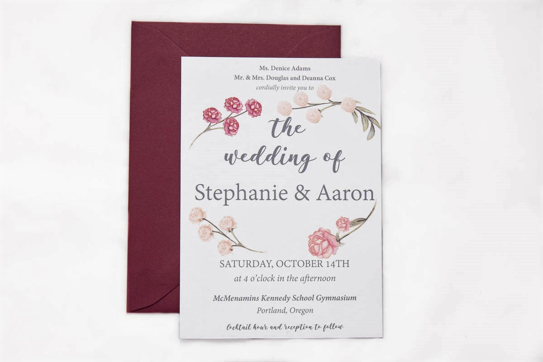 Grey card stock flower invitation with maroon envelope