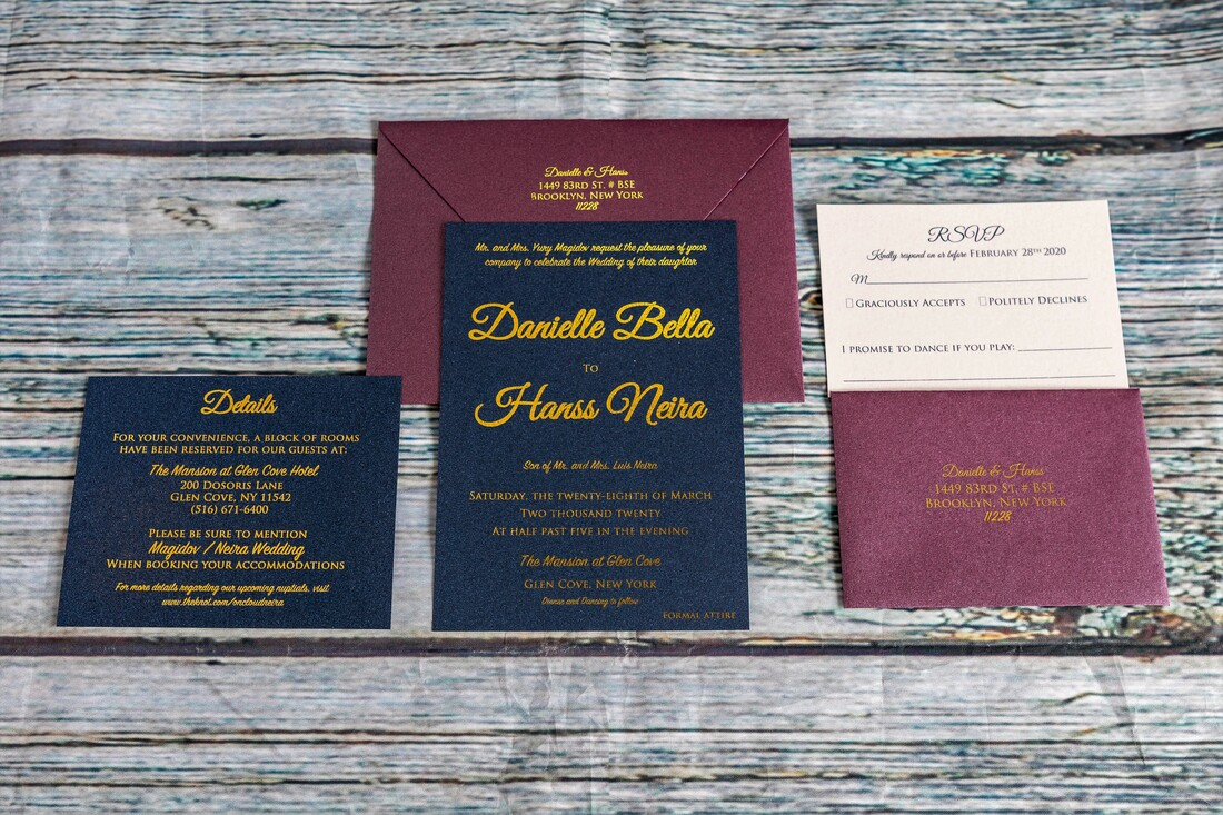 Navy blue and dark purple wedding invitation with gold foil text. RSVP and addressed envelope with foil address. An envelope with return addressing on the back flap in gold foil.