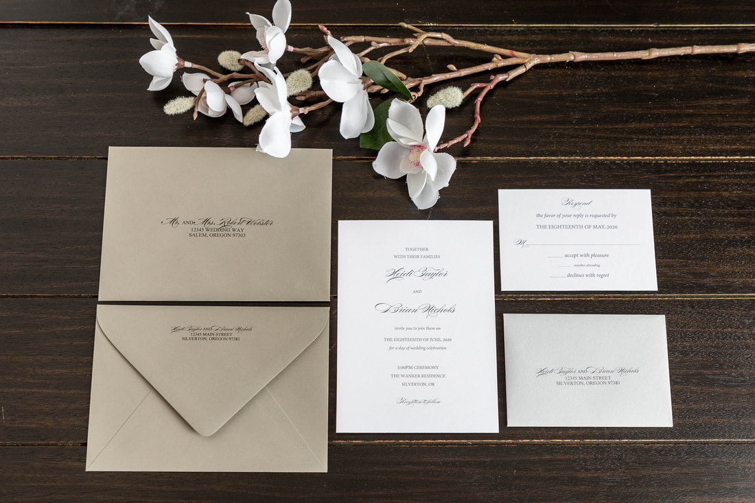 Simple white wedding invitation, matching RSVP card and grey RSVP envelope with address, dark grey guest envelope with guest address and return address printed on back flap.