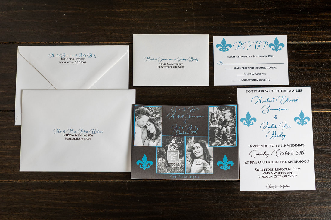 Fleur de lis wedding invitation suite including save the date with photos, invitation, RSVP card and RSVP envelope with address printed, guest envelope with printed guest address and return address on the back flap.