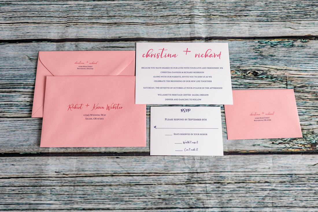 Pink and blue font wedding invitation, RSVP card, RSVP envelope with address printed, guest envelope with printed guest address and return address on the back flap.