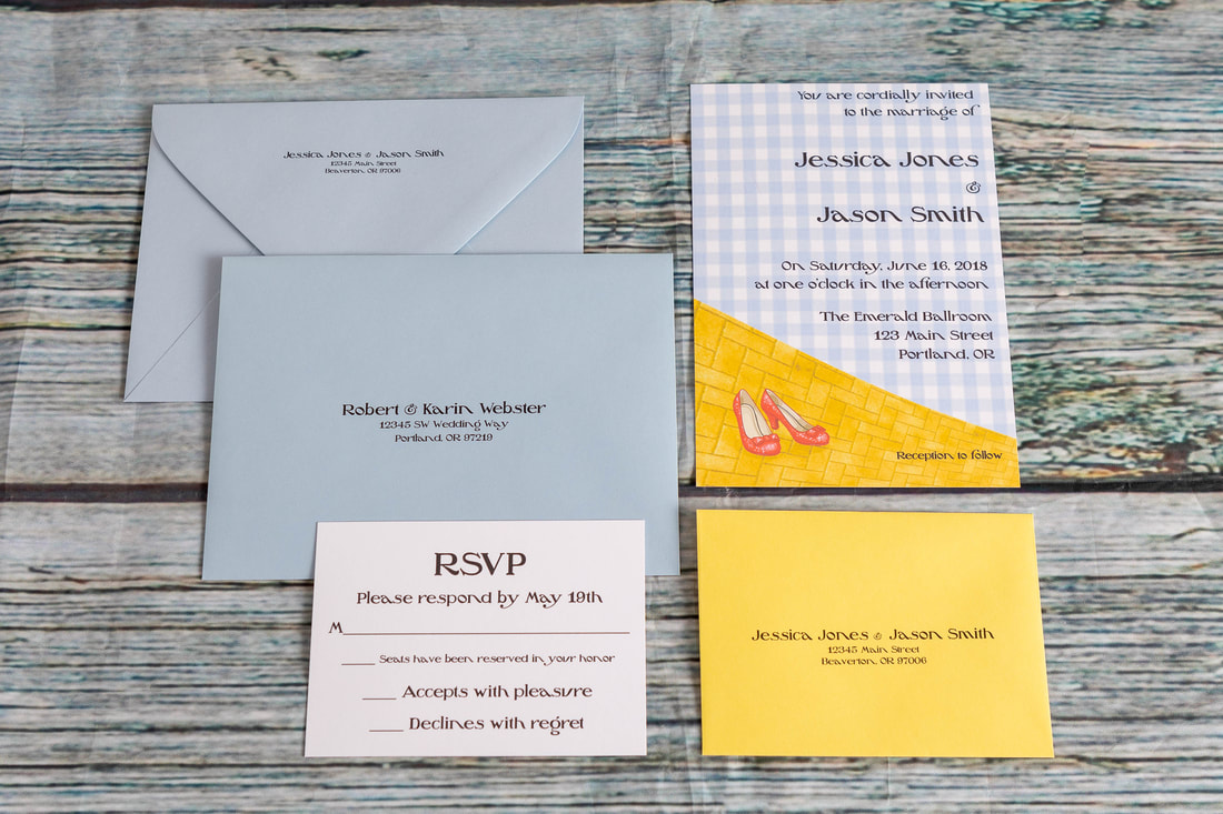 Wizard of Oz wedding invitation, RSVP card with yellow envelope with address printed and guest envelope with printed address and return address on the back flap.