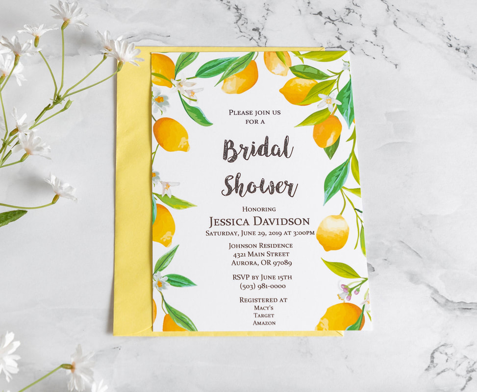 Lemon border bridal shower invitation with yellow envelope.