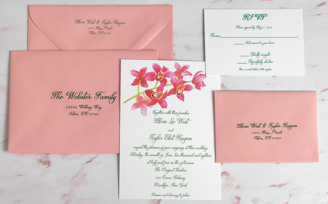 Orchid wedding invitation with green script text.  RSVP card with pink RSVP envelope and address.  Guest address and return address on pink guest envelope.