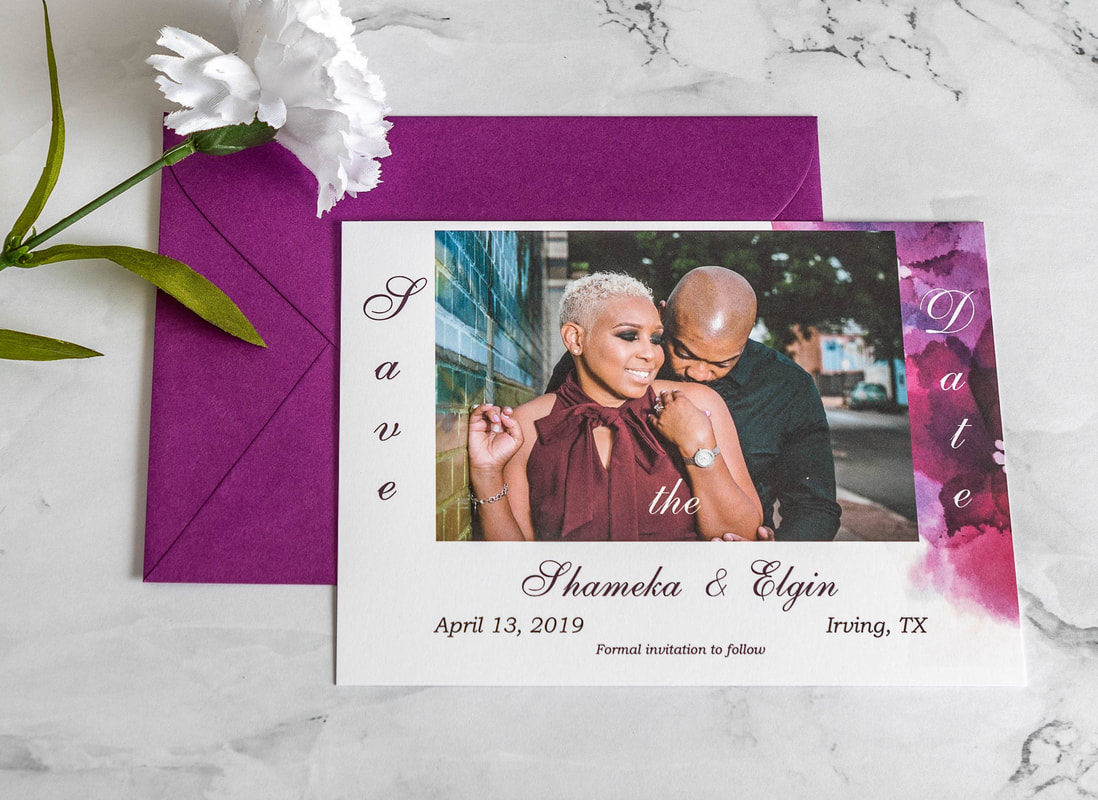 Photo save the date with purple watercolor on one side and matching purple envelope.