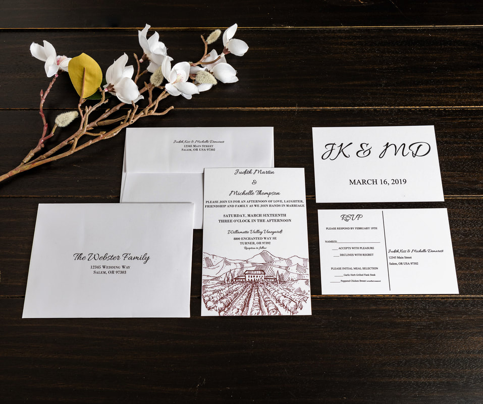 Vineyard wedding invitation with RSVP postcard and guest address and return address on guest envelope.